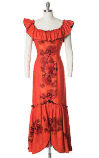 1950s Hawaiian Ruffled Red-Orange Holomuu Dress