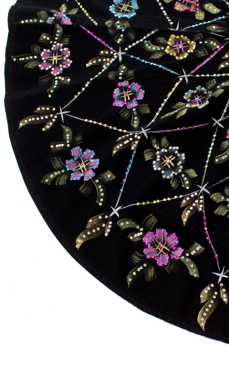 1950s Mexican Metallic Floral Sequin Velvet Circle Skirt