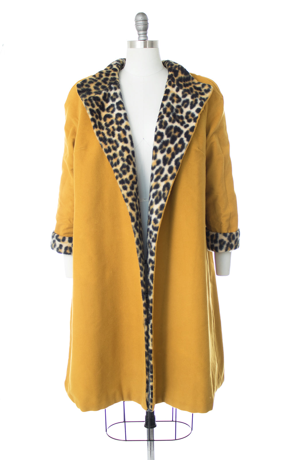 1960s Reversible Leopard Print Mustard Yellow Swing Coat