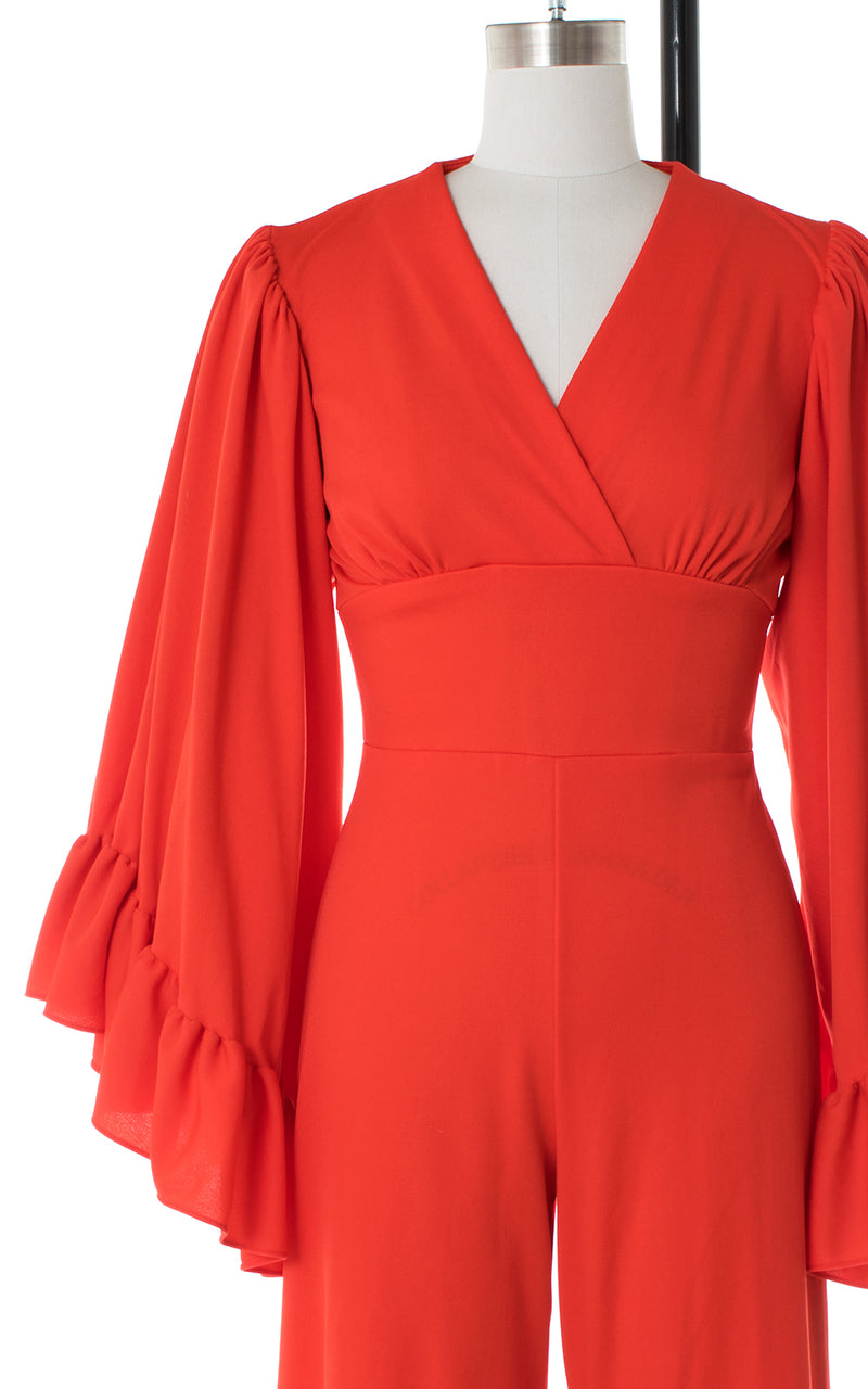 1970s Angel Sleeve Red Jumpsuit