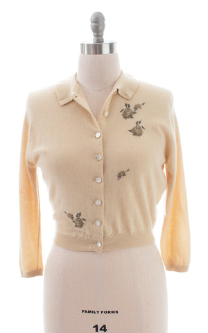 1950s Rose Embroidered Cashmere Cardigan