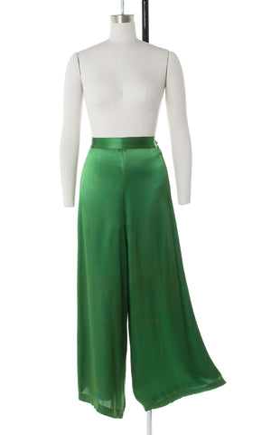 1930s Emerald Rayon Satin Wide-Leg Pants