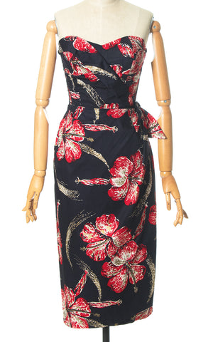 1950s Shaheen Metallic Hibiscus Sarong Dress