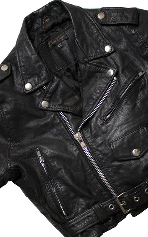 Vintage Cropped Black Leather Motorcycle Jacket