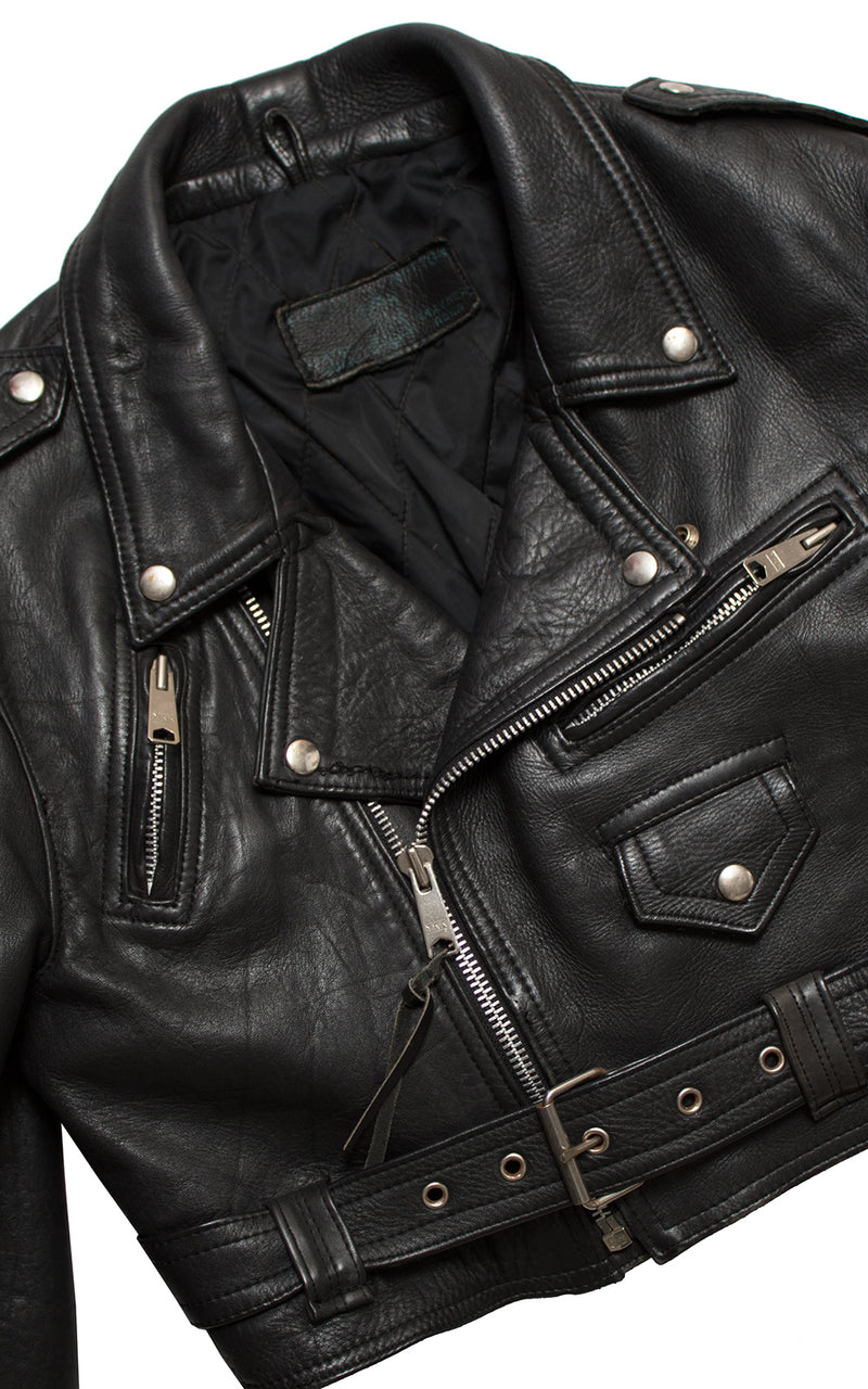 1990s Cropped Black Leather Motorcycle Jacket