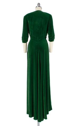 1930s 1940s Forest Green Velvet Gown
