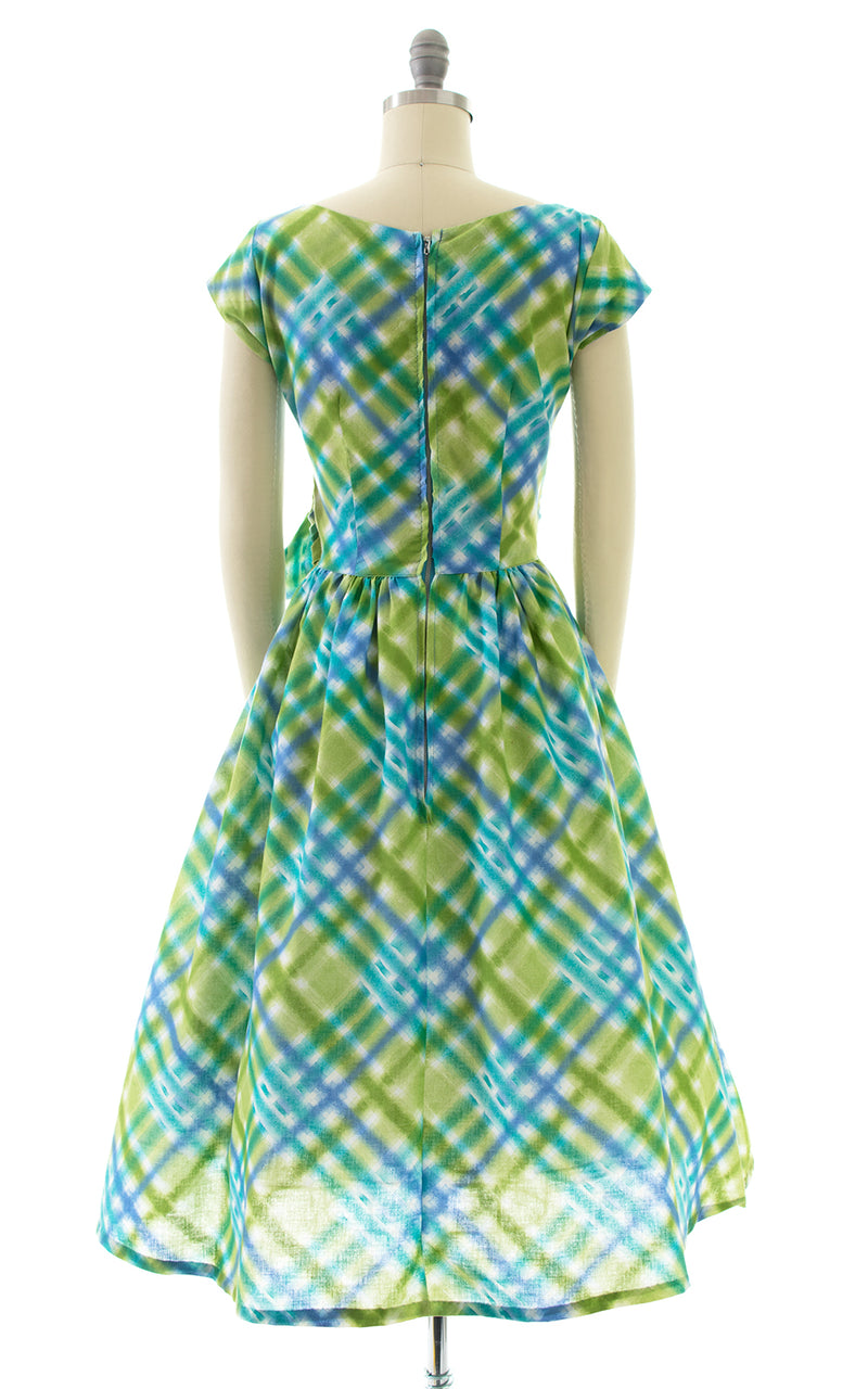1950s Plaid Cotton Belted Dress