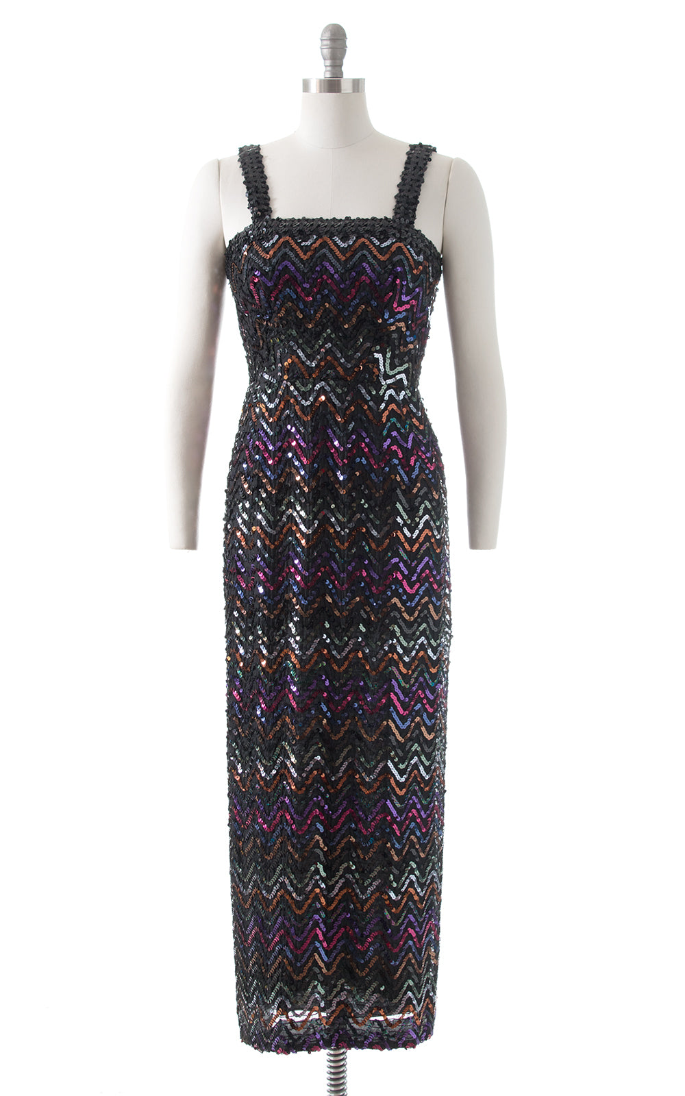 1970s Lilli Diamond Rainbow Sequin Maxi Dress