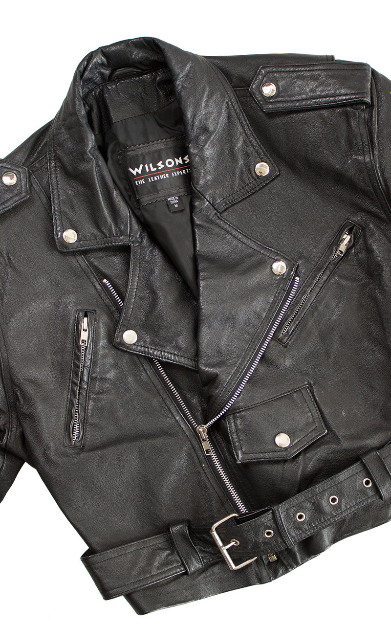 1980s Wilsons Cropped Leather Motorcycle Jacket