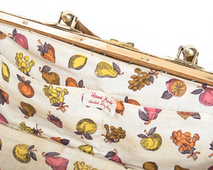 1950s Fruit Novelty Print Lined Wicker Box Purse