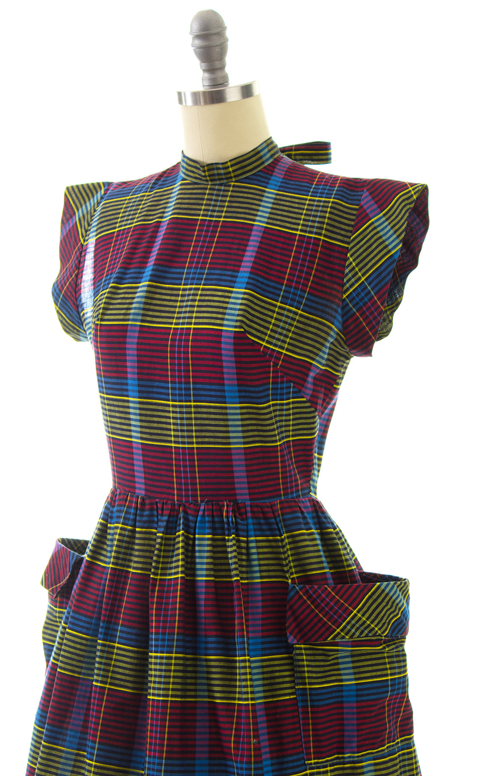 1950s Plaid Cotton Dress with Pockets