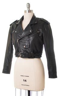 1980s Cropped Black Leather Motorcycle Jacket