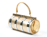1950s Gold & Silver Metal Barrel Box Purse