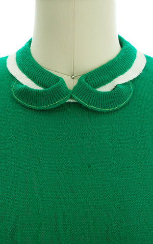 1950s Kelly Green Acrylic Knit Sweater Top