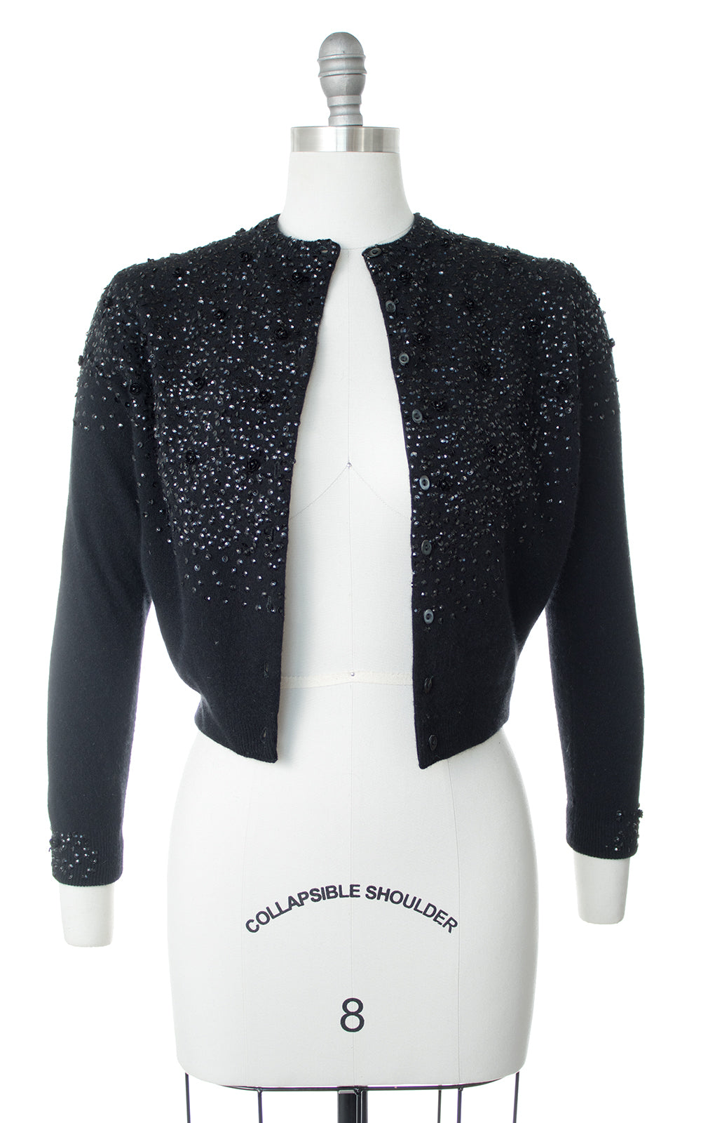 1950s Rose Sequined Knit Wool Cropped Cardigan
