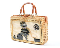 1950s Poodle Novelty Wicker Box Purse