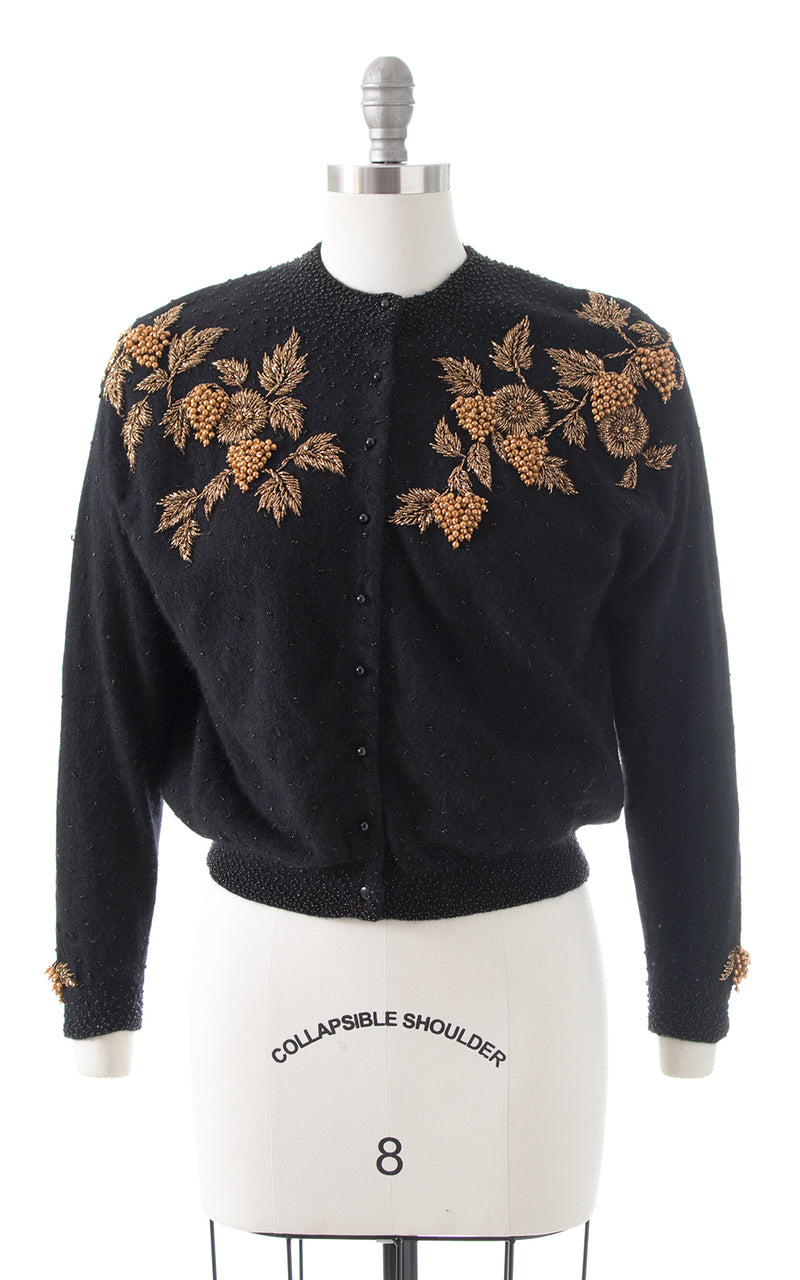 1950s Gene Shelly Floral Beaded Knit Cardigan