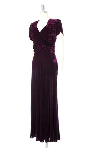 1930s 1940s Purple Velvet Long Gown