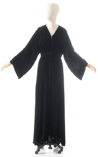 1930s Black Rayon Wide Sleeve Maxi Dress