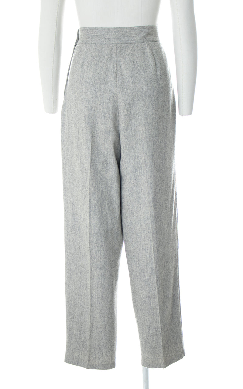 1980s Grey Wool Side Button Trousers