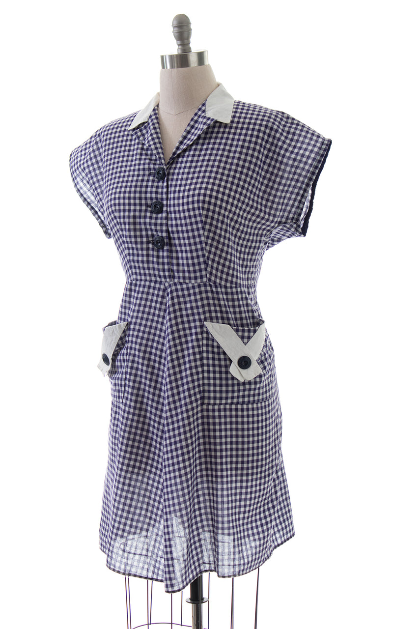 1940s Purple Gingham Shirtwaist Dress with Pockets