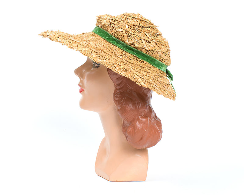 1950s Straw Sun Hat with Velvet Ribbon
