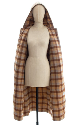 1970s Tan Hooded Trench Coat with Plaid Flannel Lining