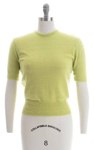 SOLD || 1950s Pear Green Cashmere Knit Sweater Top | small/medium