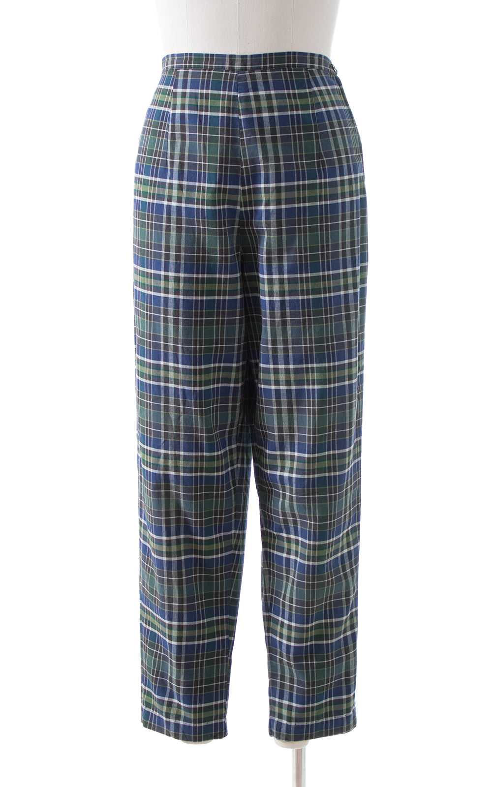 1960s Plaid Cotton Cigarette Pants