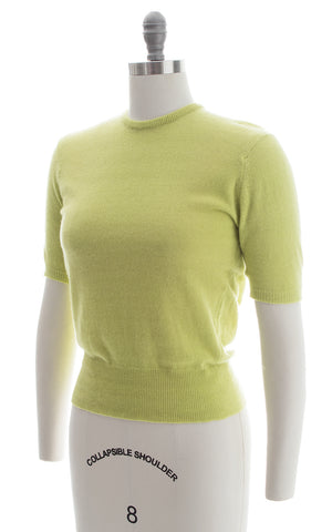 1950s Pear Green Cashmere Knit Sweater Top