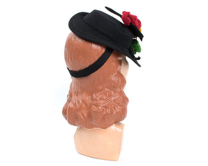 1940s Tri-Color Chenille Flowers & Black Wool Tilt Hat