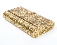 1950s Gold Star Confetti Lucite Clutch with Mirror