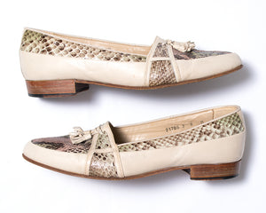 1980s Snakeskin Leather Tassel Loafers
