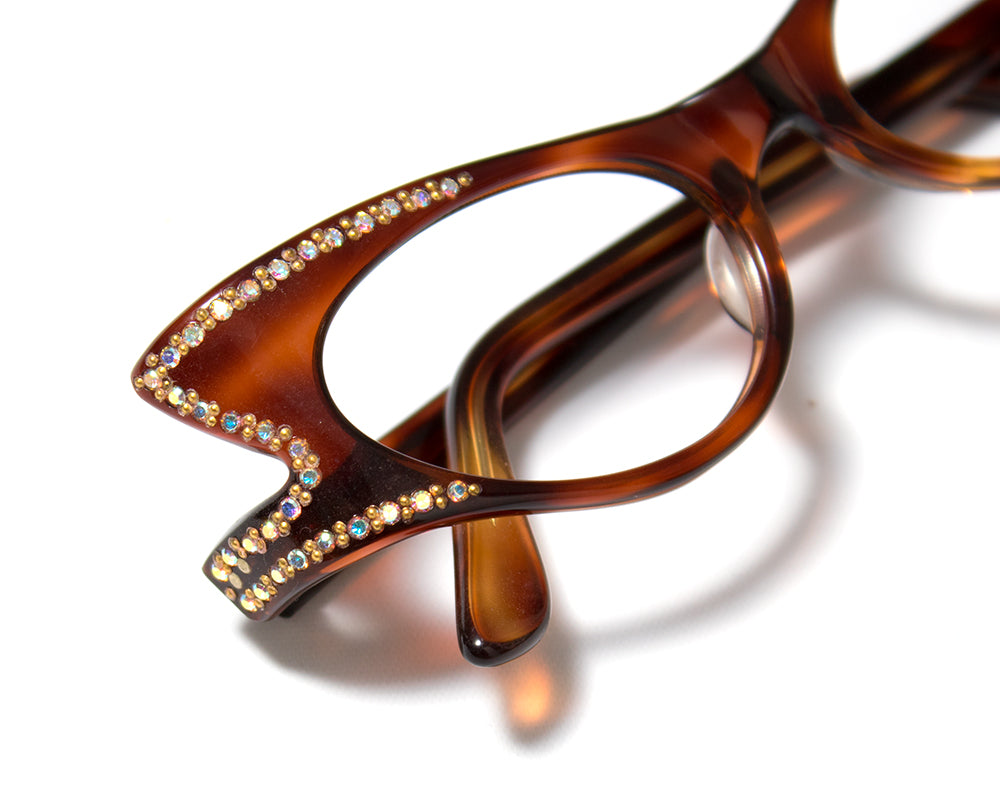 1950s Carved Tortoiseshell Lucite Frames with Rhinestones