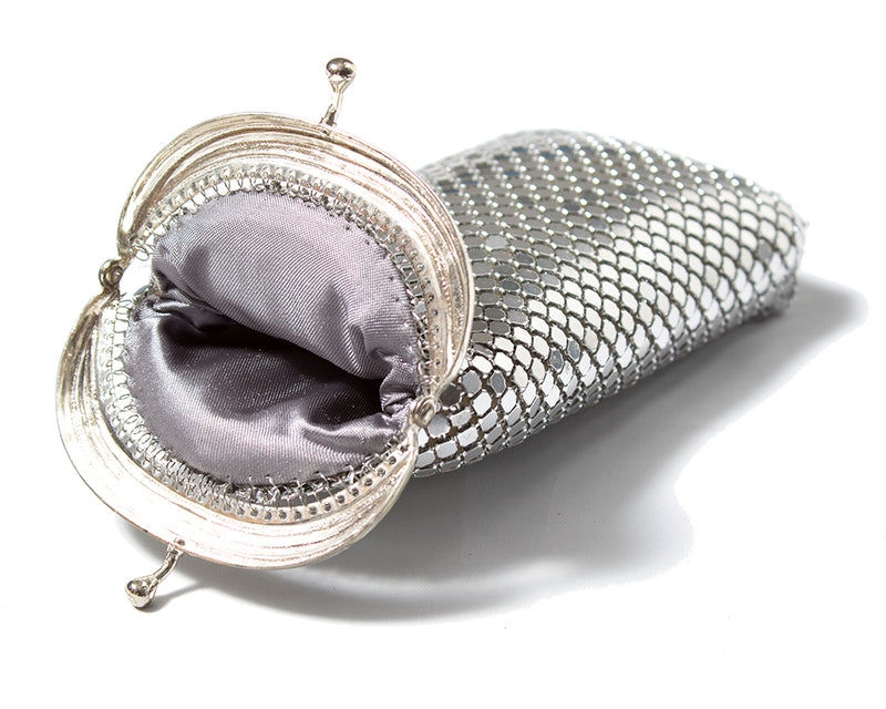 1980s Silver-Tone Metal Mesh Glasses Case