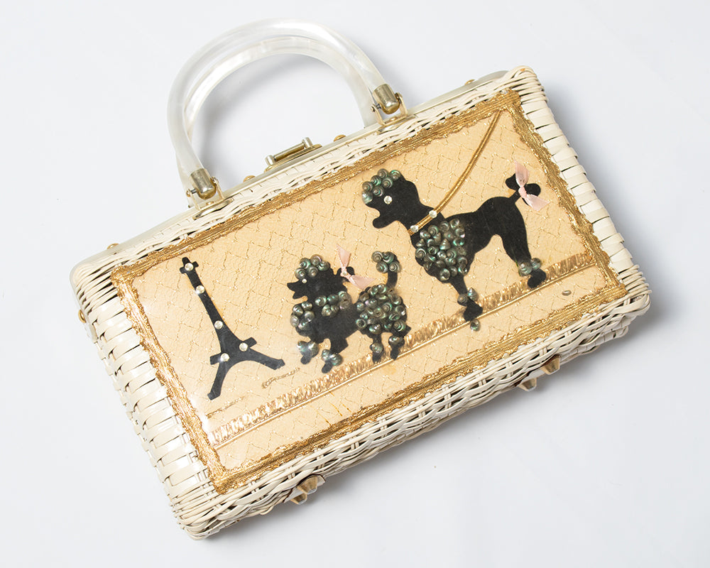 1950s Parisian Poodles Novelty Wicker Box Purse by Atlas