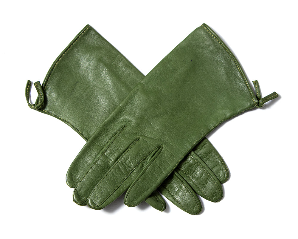 1960s Claire McCardell Green Leather Gloves
