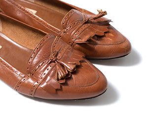 1980s 1990s Brown Leather Tassel Flats