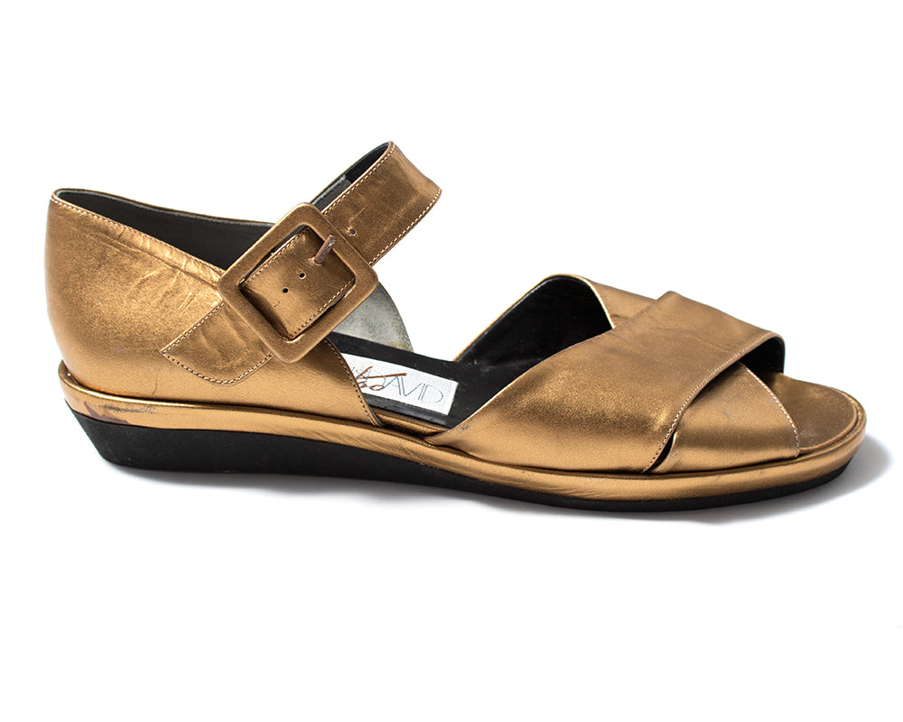 1980s 1990s Metallic Gold Leather Wedge Sandals