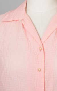 1950s Sheer Pink Nylon Blouse | medium
