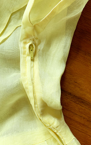 1950s Pastel Yellow Sheer Organza Scalloped Collar Dress | x-small