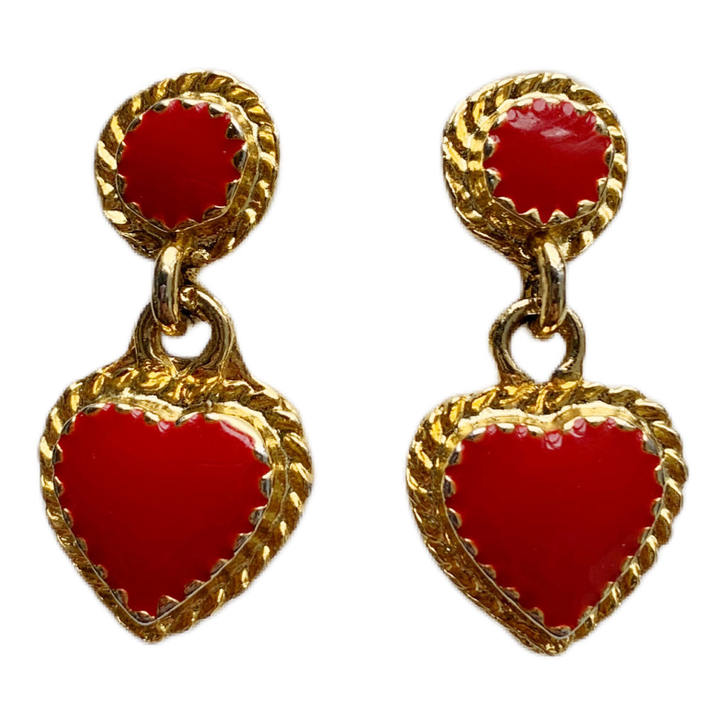 1980s Heart Enamel Earrings