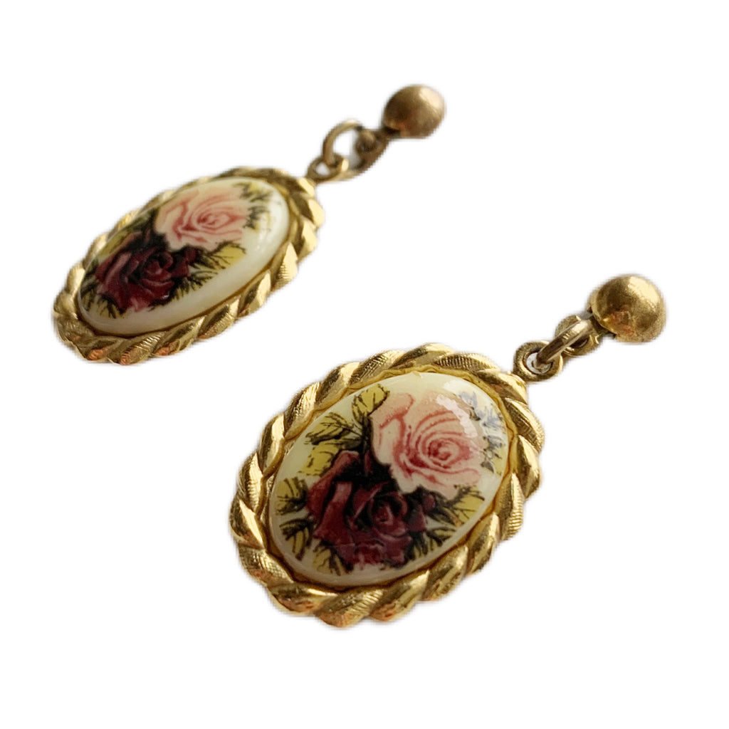 1980s Romantic Rose Earrings
