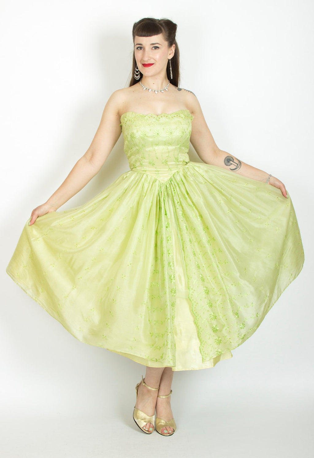1950s Chartreuse Eyelet Organza Cupcake Party Dress