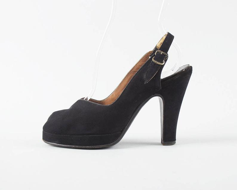 1940s Black Velvety Peep Toe Platforms
