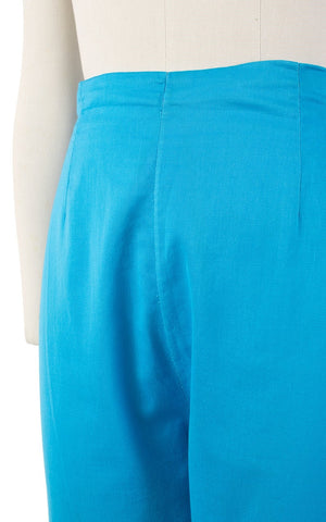 1950s Turquoise Cotton Capri Pants