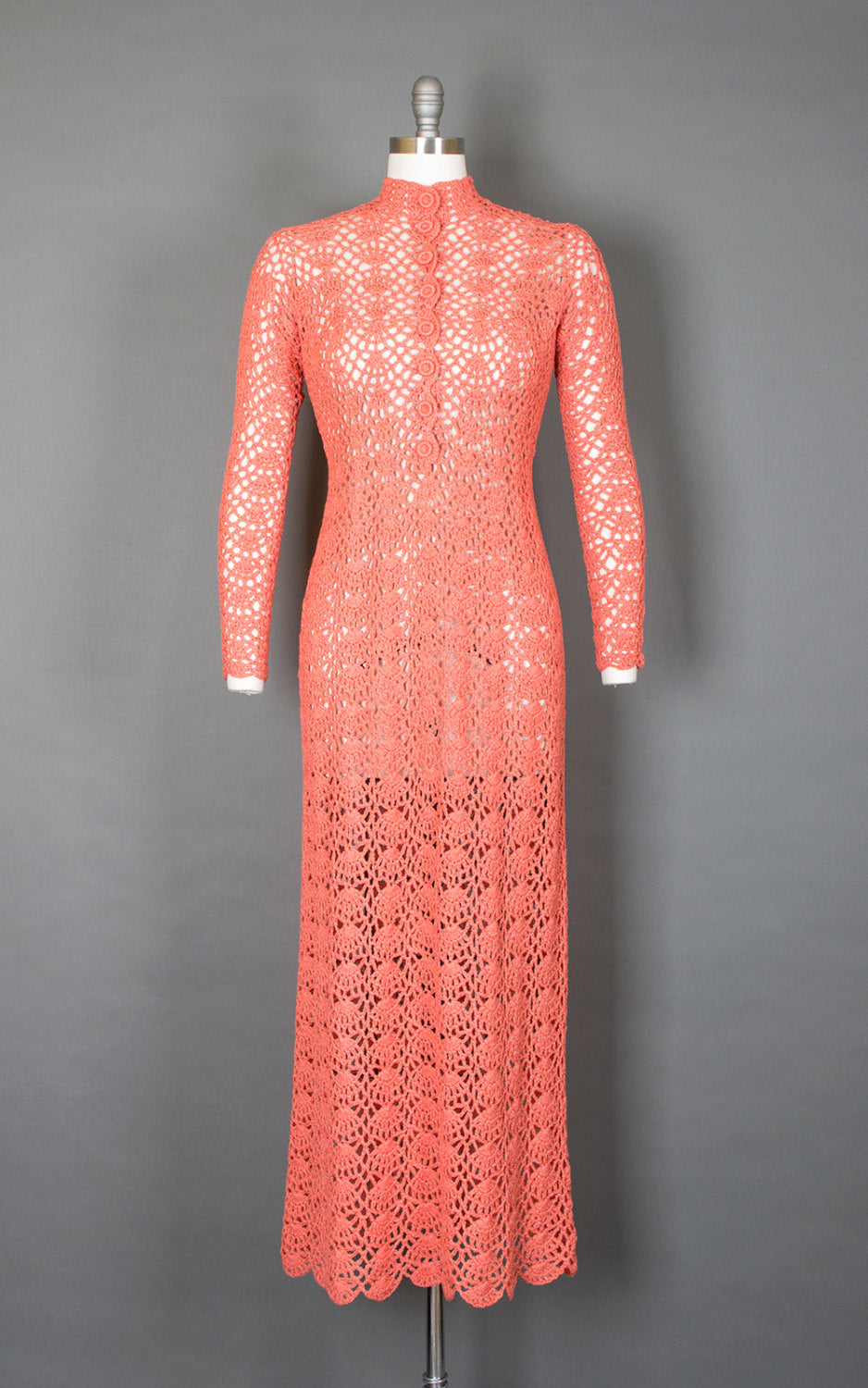 Vintage 1970s Sweater Dress | 70s Crochet Peach See Through Sheer Boho Maxi Wedding Dress (small/medium)
