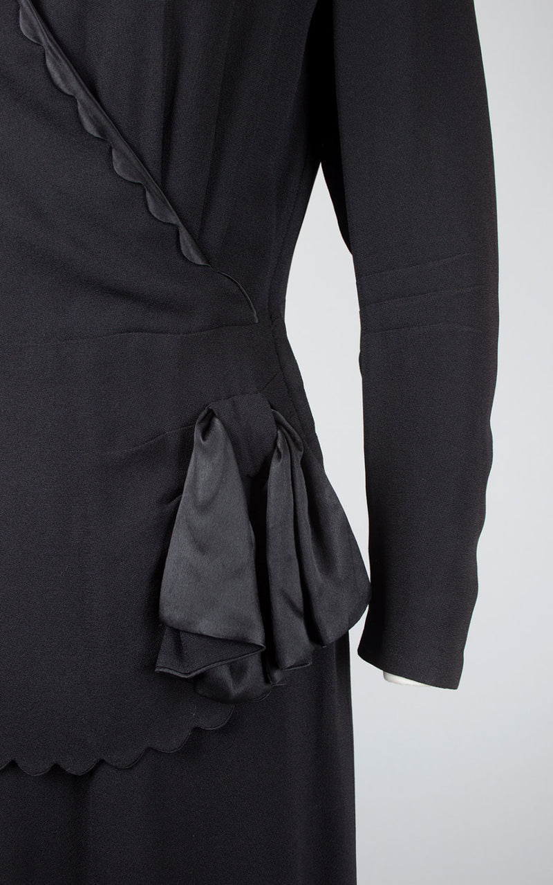Vintage 1940s Dress | 40s Black Rayon Cocktail Dress Peplum Satin Trim Long Sleeve Wiggle Evening Dress (medium)