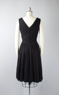 Vintage 50s Black Silk Chiffon Cocktail Dress | 1950s Ruched Gathered Full Skirt Party Dress (xs/small)