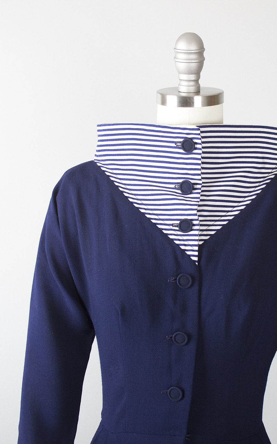 Vintage 1950s Dress | 50s Wool Striped Wide Collar Navy Blue Nautical Shirtwaist Wiggle Dress (xs/small)